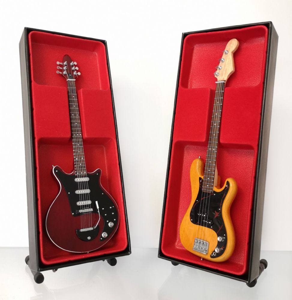 (Queen) Brian May and John Deacon: Miniature Guitar Set (UK Seller)